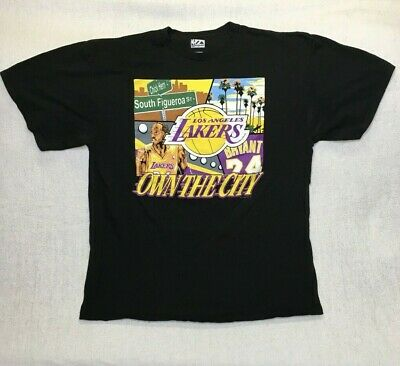80f52fab2 Majestic Kobe Bryant Los Angeles LA Lakers 24 Own The City T Shirt XL Black  VTG