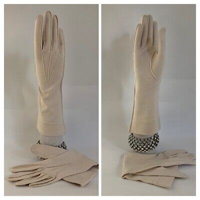 "Vintage 1950s Nude Cotton Outside Edge Stitched 12"" Dress Gloves Wedding Size 7"