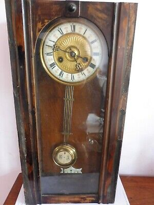 Antique Wooden Cased German Hac Vienna  Wall Clock  Original Movement Working