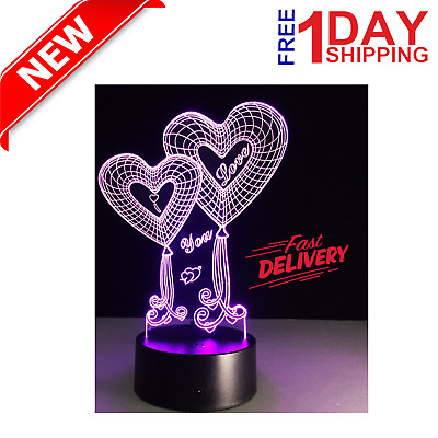 Mothers Day Gift for Mom Women Girls Ladies 3D Touch Night Light LED 7Colors