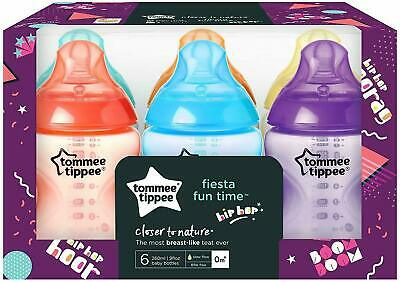 6 x Tommee Tippee Closer To Nature FIESTA 260ml/ 9oz Baby Feeding Bottles 0m