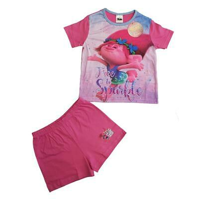 Girls Dreamworks Trolls Poppy Short Summer Pyjamas Set Sizes from 4 to 10 years