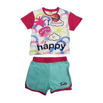 Trolls Short Pyjama Pjs Nightwear Girls  Age  2 3 4 5 6  7 years Gift NEW