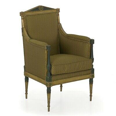 ANTIQUE FRENCH CHAIR |19th Century Louis XVI Style Distressed Painted Arm Chair