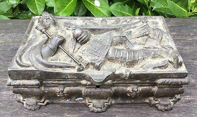 Old Antique Steel Lined Metal Possibly Spelter Casket Box Figure Of King 1