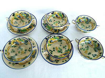 Antique Hand Painted Bird Pattern Two Handled Soup Bowls (6) with Saucers (4)