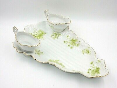 Vintage Limoges Haviland French Limoges China Triangular Platter 2 Gravy Boats