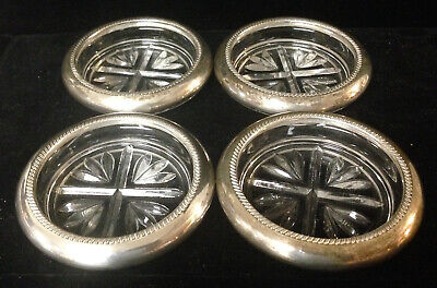 4 Sterling Silver & Glass Coasters - FB Rogers Silver Co