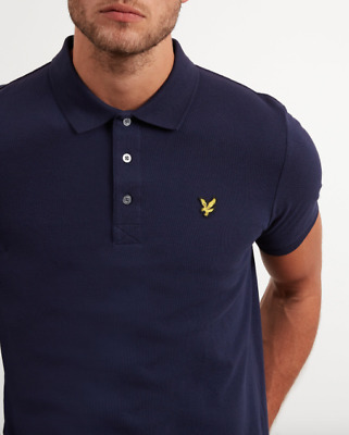 Lyle & Scott Plain Polo Shirt Col.navy Ss19 Casual Style Modernist Store