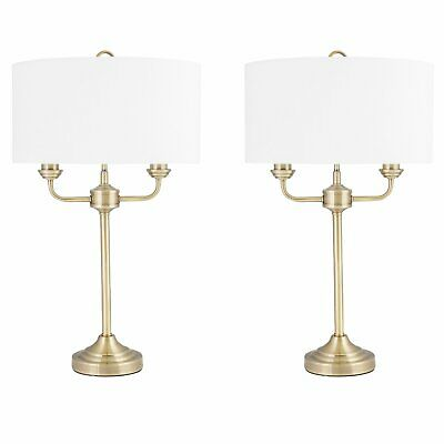 Pair of Modern Classic Antique Brass Twin Arm Table Lamp Bedside Cream Shades