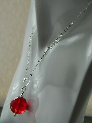 Art Deco Faceted Cherry Red Glass Crystal Bead & 925 Sterling Silver Necklace