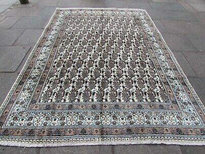 Shabby Chic Traditional Hand Made Persian Oriental White Wool Carpet 315x216cm