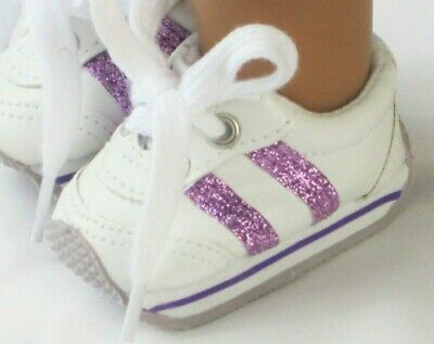 18 Inch Doll Sneakers White & Purple Striped Shoes For American Girl Dolls