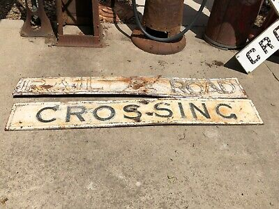 Original CAST IRON Railroad Crossing CROSSBUCK Sign Antique RR Train OLD