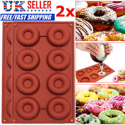 2x Silicone Donut Doughnut Muffin Pan Maker Soap Cake Mold Mould Baking Ice Tray