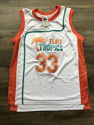 46be8ea5617d Jackie Moon  33 Flint Tropics Semi Pro Movie Jersey White Green Orange Size