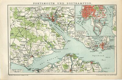 1895 ENGLAND PORTSMOUTH and SOUTHAMPTON Antique Map