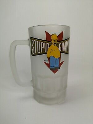 Large Official Simpsons 'Stupid Gravity' Beer Glass Mug  Rare