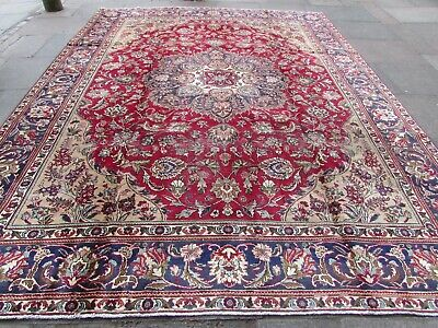 Shabby Chic Traditional Hand Made Persian Oriental Red Wool Carpet 383x300cm