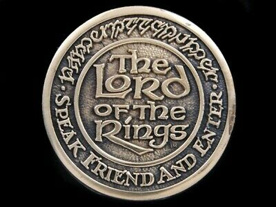 Sb03151 *Nos* Vintage 1979 **The Lord Of The Rings** Fantasy Solid Brass Buckle