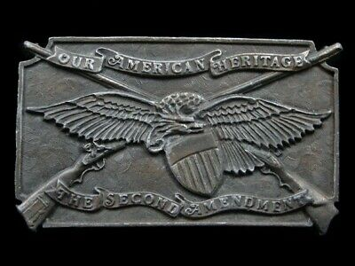 Sb03106 Vintage 1976 **The Second Amendment Our American Heritage** Belt Buckle