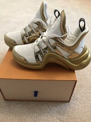 ba6af86a5519 Auth NIB Louis Vuitton Archlight Sneakers Metallic Gold White 39 - VERY  RARE!