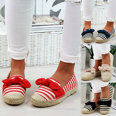 New Womens Slip On Espadrilles Bow Flat Canvas Sandals Comfy Ladies Shoes Size