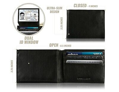 Mark Fred Slim Wallet for Men - Genuine Leather RFID Blocking Bifold Passcase