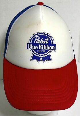 Pabst Blue Ribbon Beer PBR Red White and Blue Snapback Mesh Back Trucker Hat