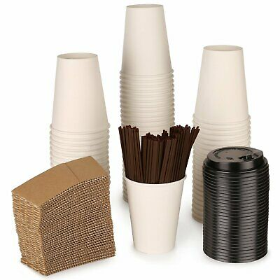- Paper coffee Hot cups by ZTLbrand - with lids, straws and sleeves [White]12...