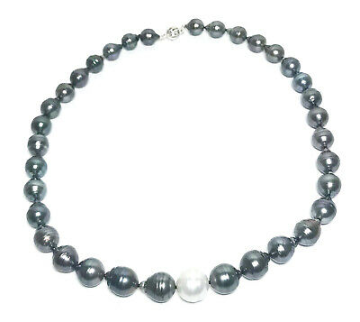 """Natural Black & White 9-12.5mm Tahitian & South Sea 35 pcs Pearls 18"""" Necklace"""