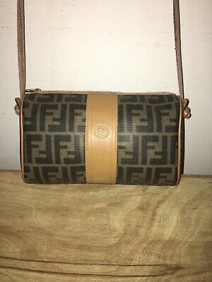a2b52e0f1a8a Vintage FENDI Monogram Authentic Coating Canvas and Leather Shoulder Bag