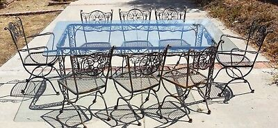 Vintage 1950's Woodard Andalusian Outdoor Patio Dining Set Table & Chairs Iron