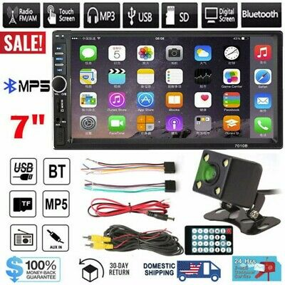 """7"""" in  Double 2 DIN Car MP5 Player Bluetooth Touch Screen Stereo Radio + Camera"""