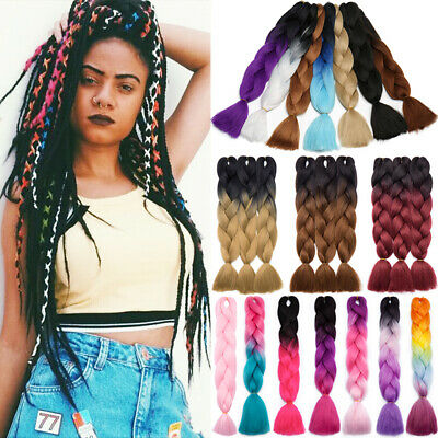US Jumbo Hair Extensions Xpression Braiding Hair Plain Box Braids For Human 60CM