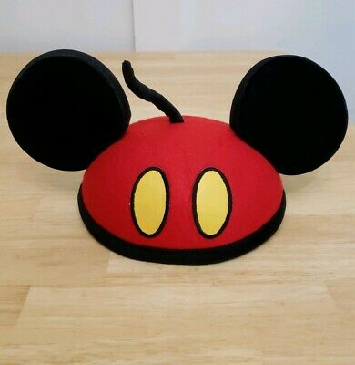 Pre Owned Disney Mickey Mouse Ears Hat Red and Black