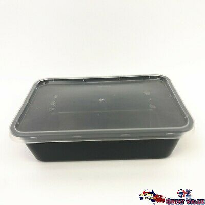 Black Rectangle Take Away Food Container Random Lid Home Restaurant Bulk
