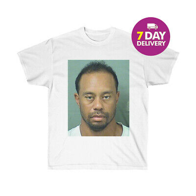 Tiger Woods Dui Fan Mugshot White T Shirt White Cotton Men Size S-3XL