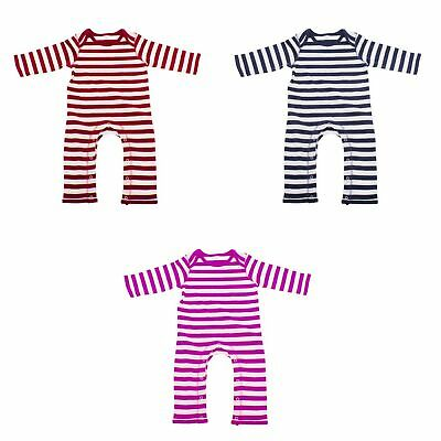Babybugz Baby Stripe Long Sleeve All In One Rompasuit (BC135)
