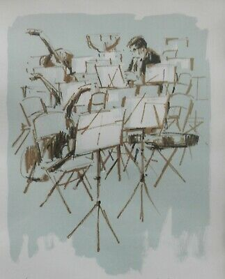 """Paul Seckel Listed German NY Artist Signed Lithograph """"Big Band""""/Org Fram 87/260"""