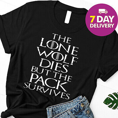 b587ae5b7e The lone wolf dies but the pack survives Shirt Game of Thrones shirt Black  S-
