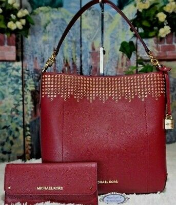 ed28f273235cc0 NWT MICHAEL KORS HAYES Large Conv. Bucket Shoulder BAG + WALLET In MULBERRY  $576