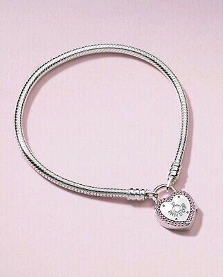 Authentic PANDORA Lock Your Promise Heart Padlock Bracelet #596586FPC with Box
