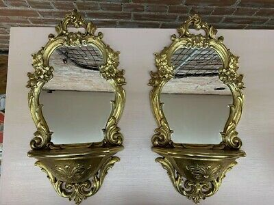Pair Of Vintage Syroco Gold Mirror Wall Shelf Hollywood Regency #2327
