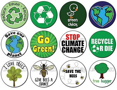 CLIMATE CHANGE (Various Designs) Button Badge 25mm / 1 inch GREEN GLOBAL WARMING