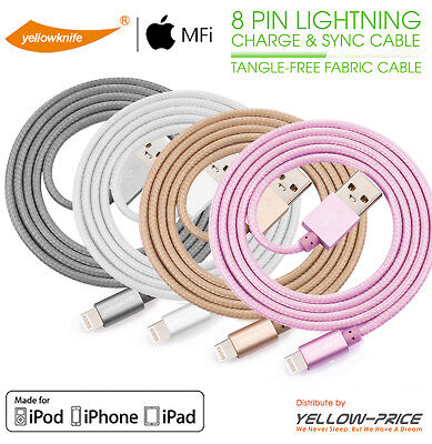 Grey Gold Pink Sliver Braided Apple MFI Certified Lightning to USB Cable - 3.3ft