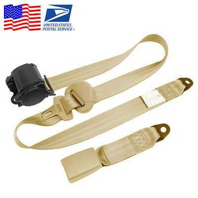 1x Beige Universal 3 Point Automatic Retractable Car Safety Seat Belt Lap Buckle