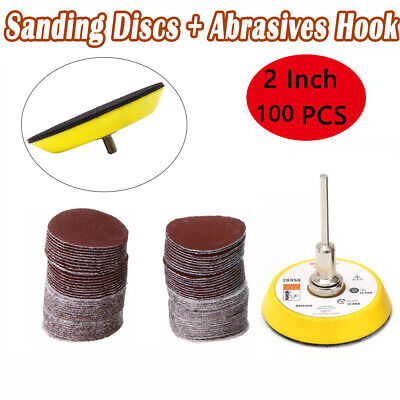 2 inch 100PCS Sanding Discs Pad Kit for Drill Grinder Rotary Tools + Backing Pad