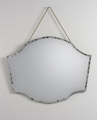 Macy Vintage effect Wall Mirror, with antiqued brass chain, bevelled edge, JM-2