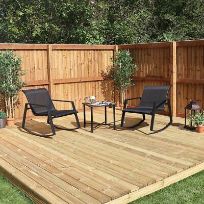 3 Piece Set 2 X Black Rocking Chair And Table Garden Patio Pool Furniture Wido